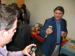 Looking at iPhone at Party