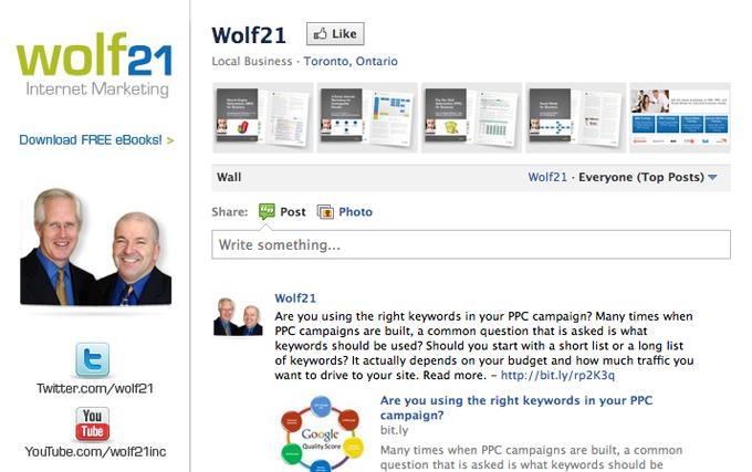 Wolf21 Facebook wall